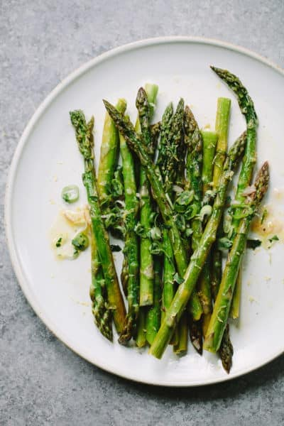 Simple Roasted Asparagus with Shallot Vinaigrette