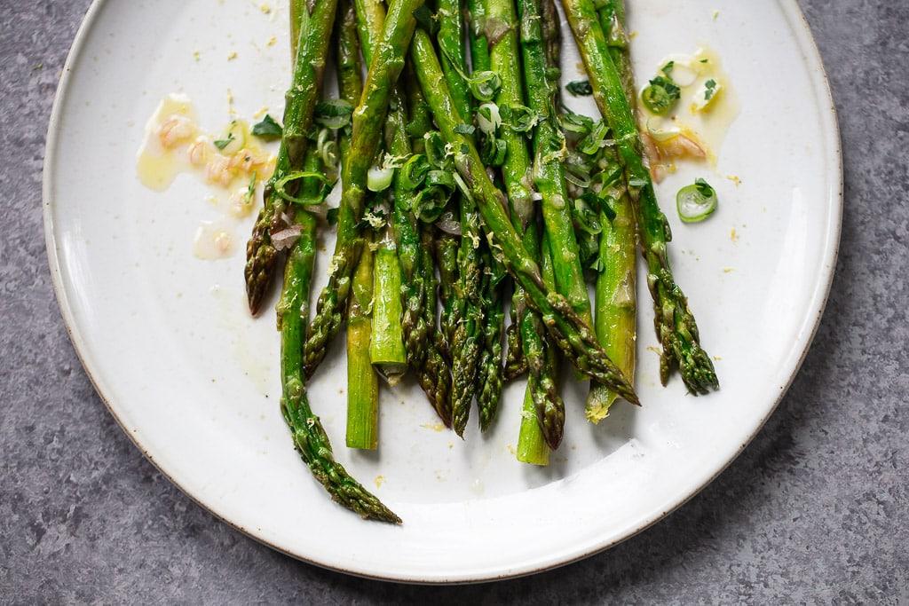 Simple Roasted Asparagus with Shallot Vinaigrette