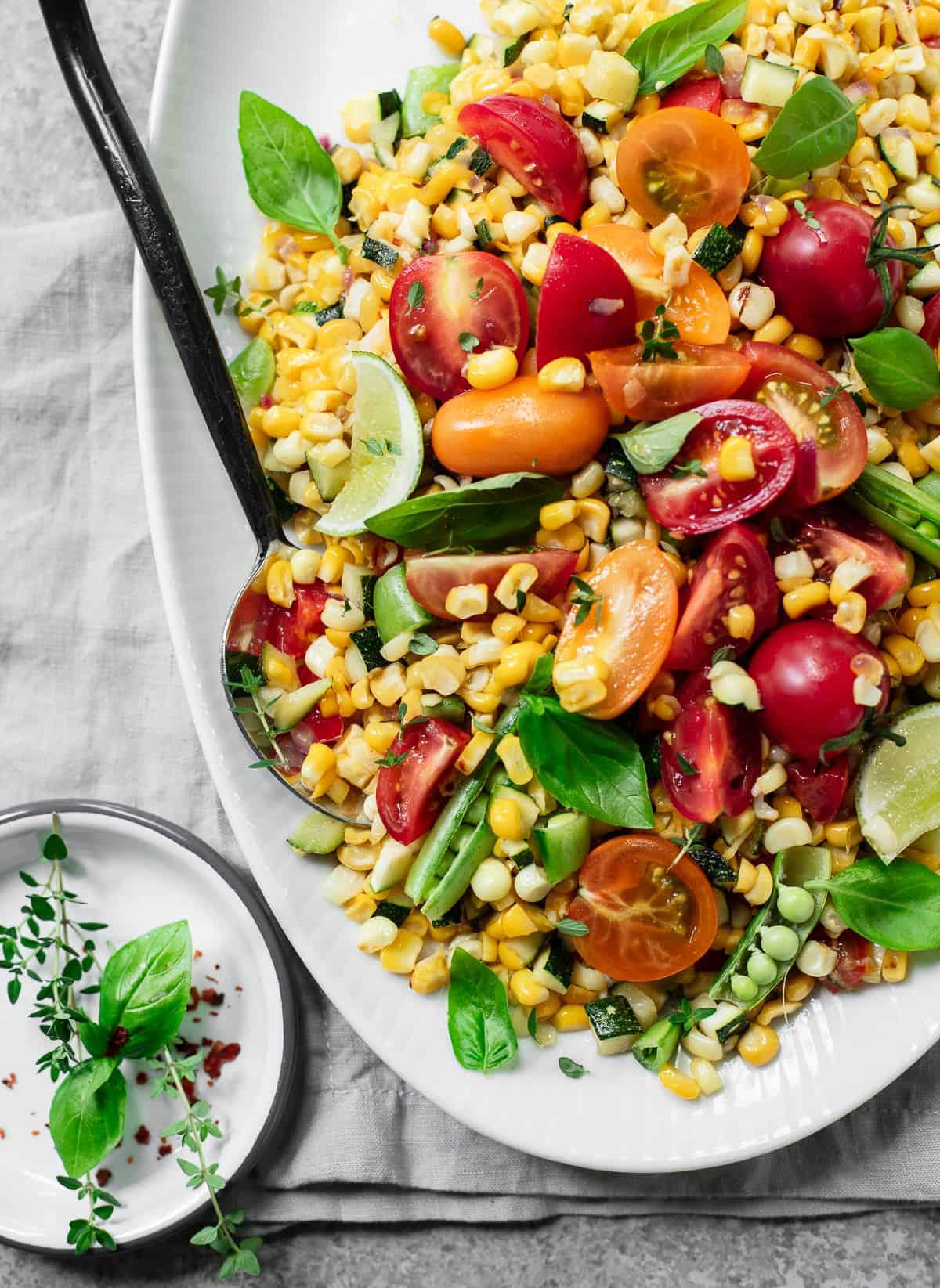 Summer Corn Succotash Salad with Tomatoes and Basil
