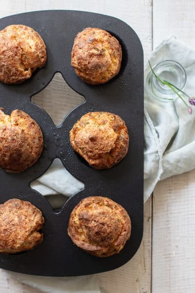 Savory Parmesan Popovers with Chives and Black Pepper