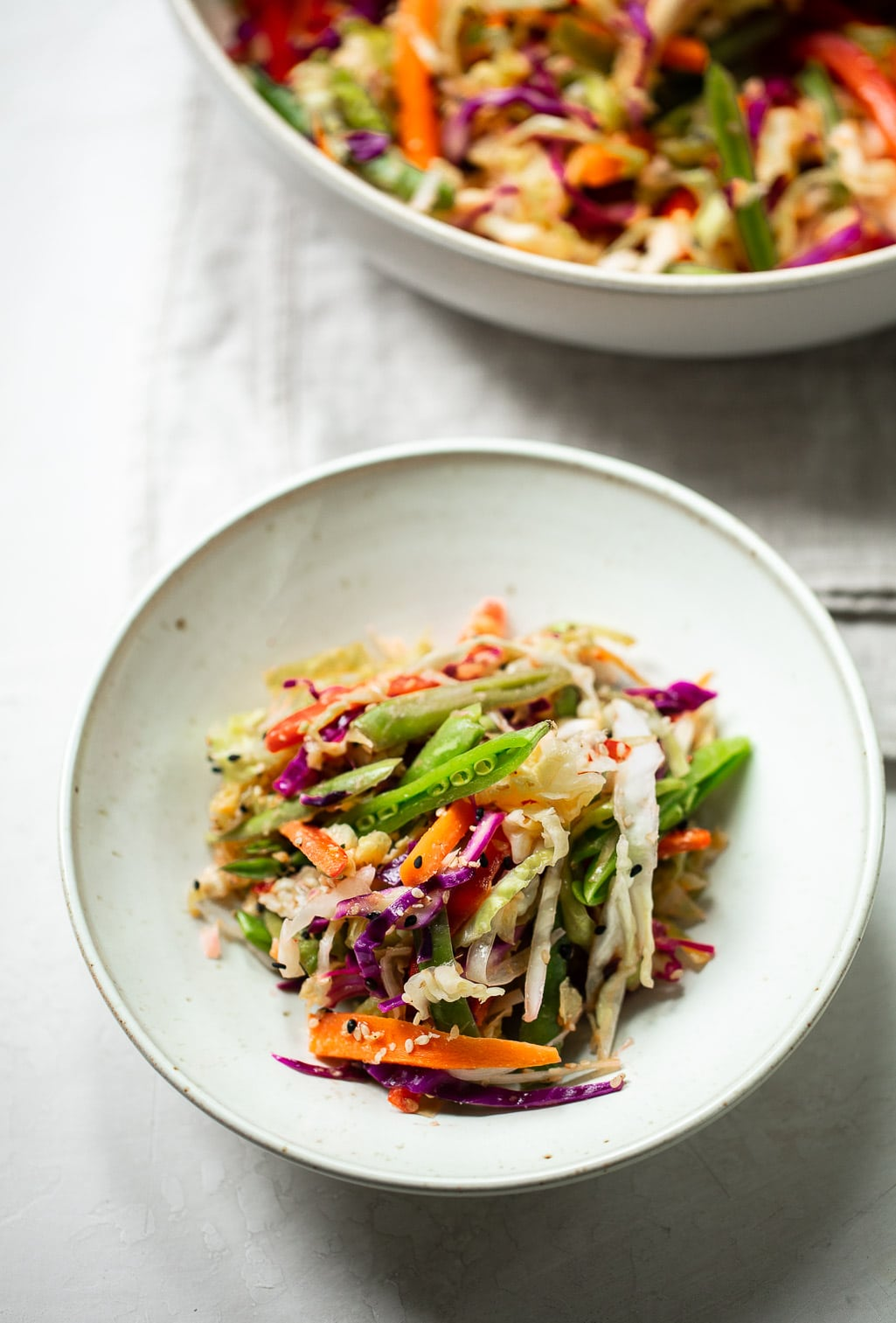 Warm Vegetable Slaw with Ginger Lime Tahini Dressing
