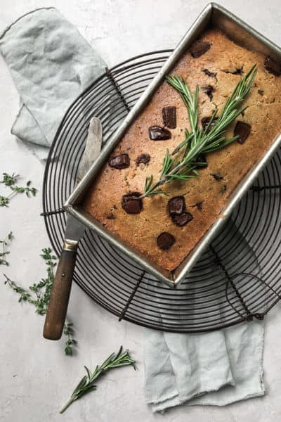 Rosemary Olive Oil Quick Bread with Bittersweet Chocoalte