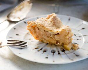 slice of homemade apple pie with lemon butter crust recipe