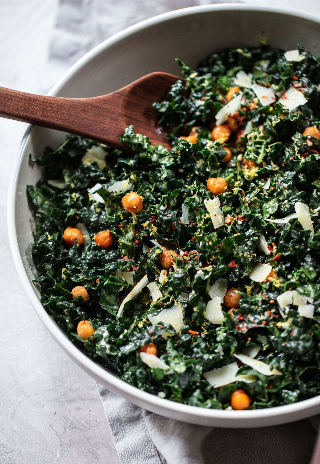 Raw Tuscan Kale Salad with Smoky Roasted Chickpeas