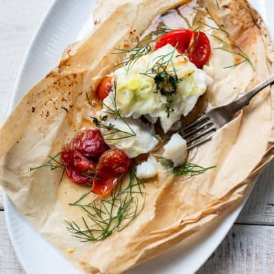 Parchment Roasted Cod with Fresh Fennel, Tomatoes and Thyme