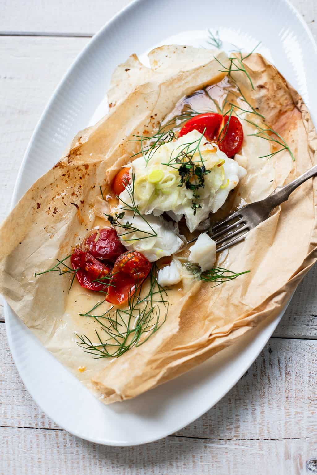 Parchment Roasted Cod with Provencal Flavors - the easiest way to cook fish.