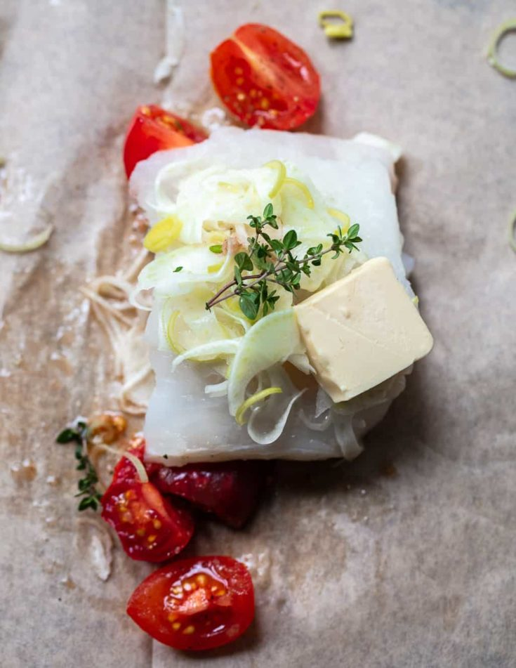 Parchment Roasted Cod with Fennel, Thyme and Tomatoes