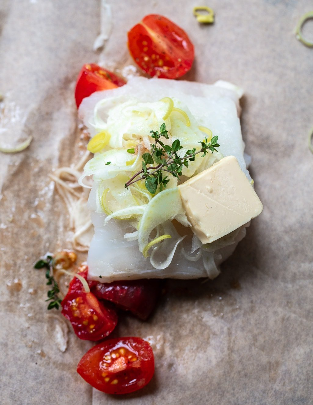 The least fussy and tastiest way to cook fresh fish - Parchment Roasted Cod with Fennel, Tomatoes and Thyme