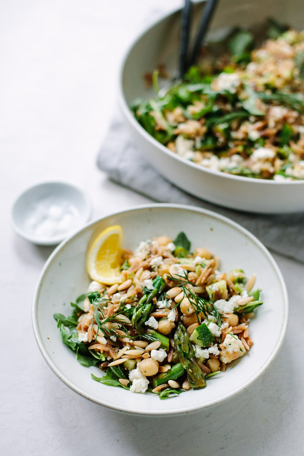Fresh Mediterranean Toasted Orzo Salad with Asparagus and Feta
