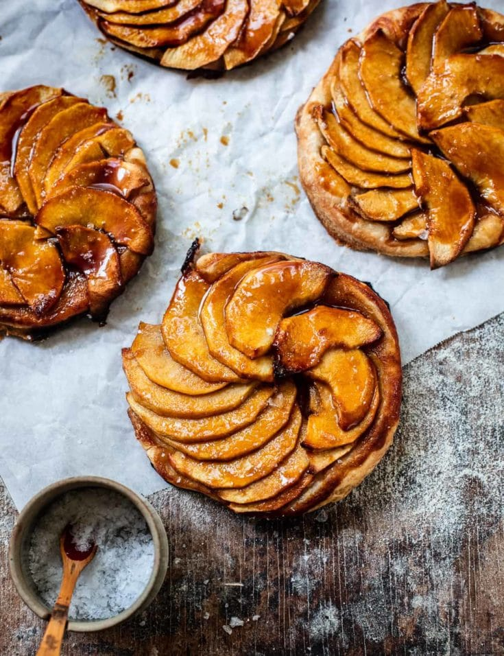 Salted Caramel Puff Pastry Apple Tartlets