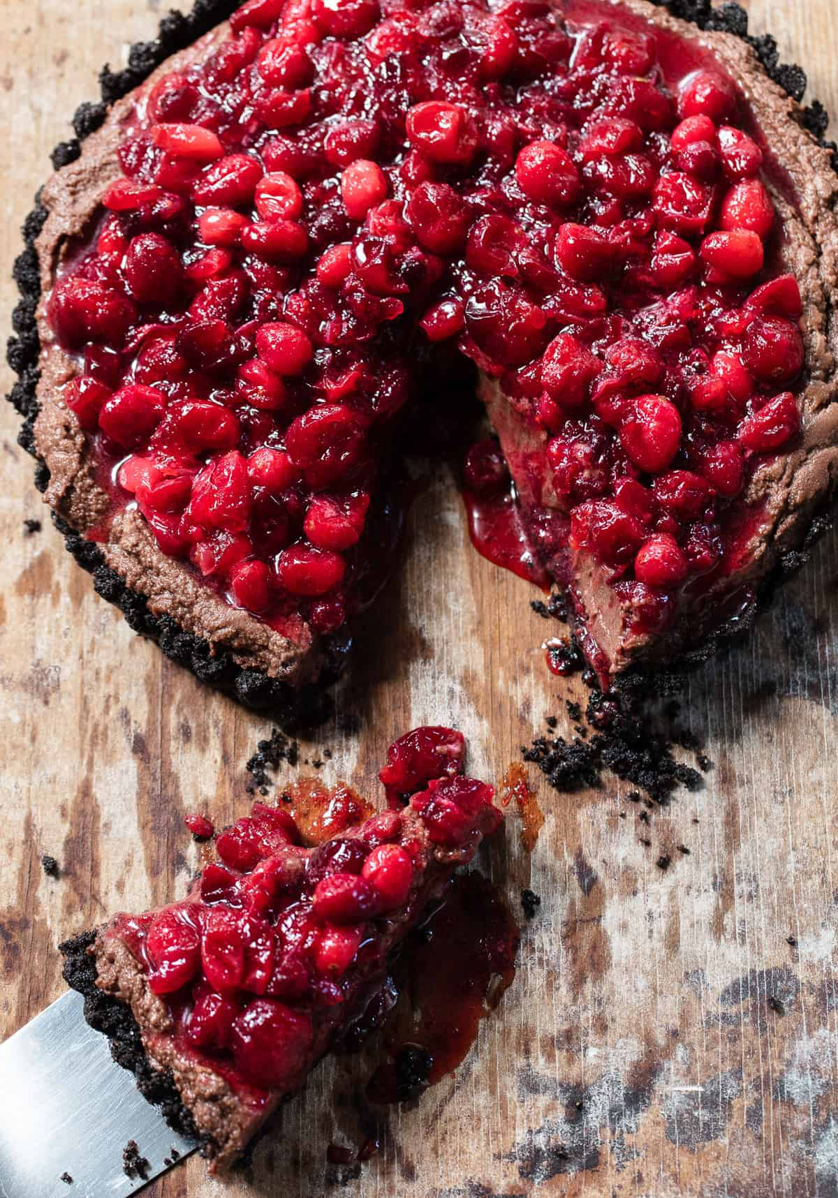 Cranberry Chocolate Cream Tart