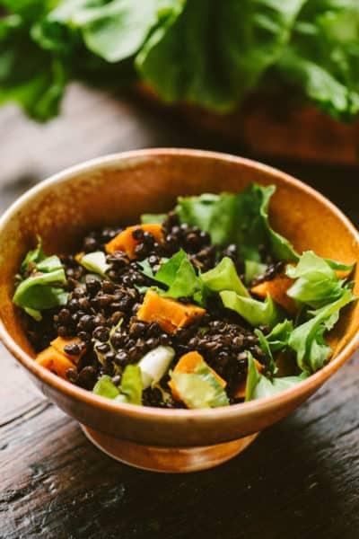 escarole lentil salad with sweet potatoes