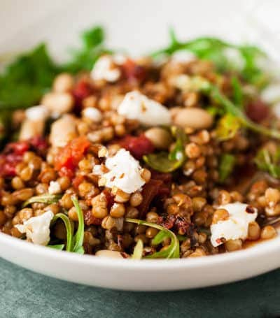 wheat berries, tomato, arugula & ricotta