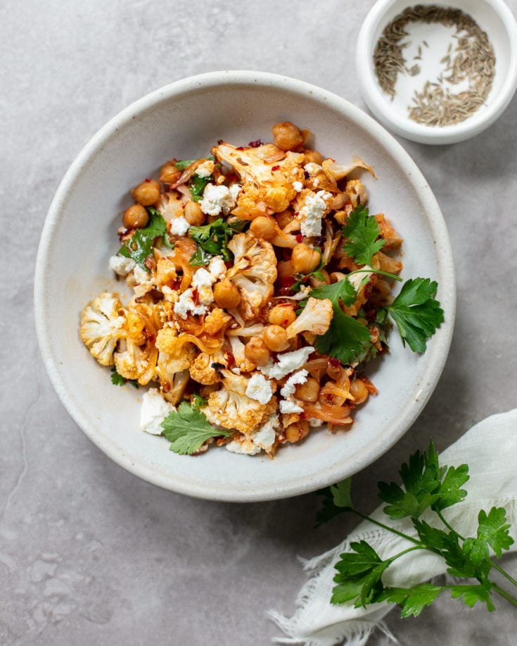 Roasted Harissa Cauliflower Salad with Chickpeas