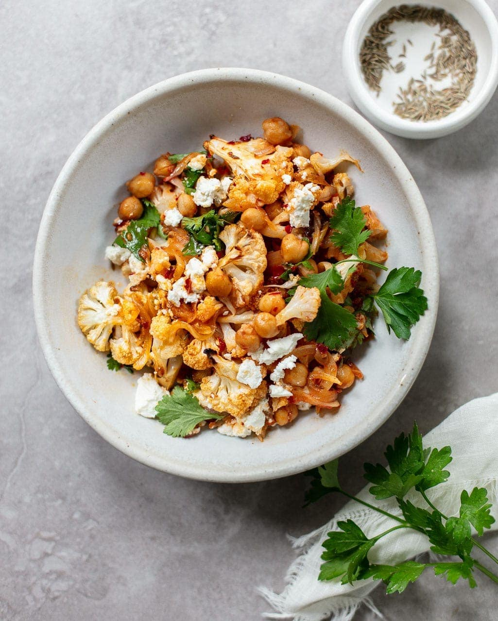 Roasted Harissa Cauliflower Salad With Chickpeas Familystyle Food