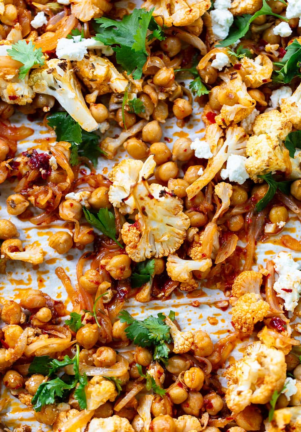 Roasted Cauliflower Salad with Harissa Chickpeas