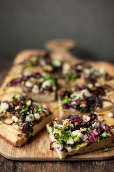 gorgonzola focaccia, chicory and walnuts