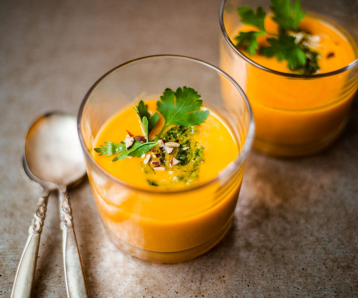 Cream of Carrot Soup with Parsley Almond Pesto