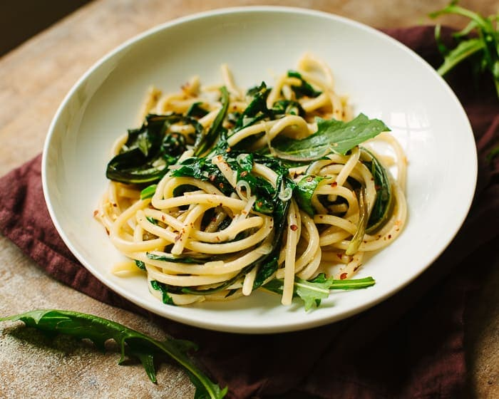 Pici Pasta with Ramps and Dandelion Greens