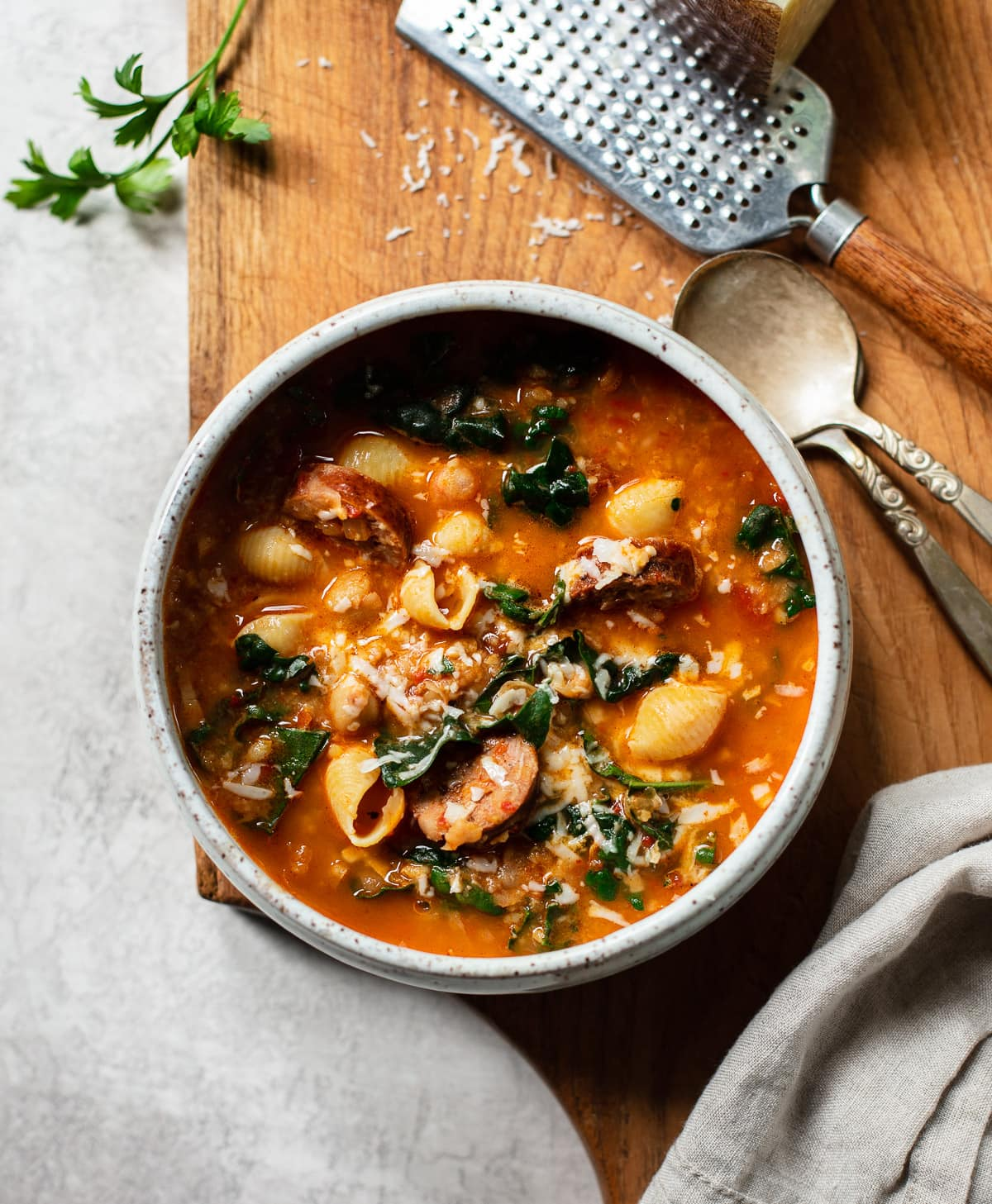 Chickpea Chorizo Stew with Greens