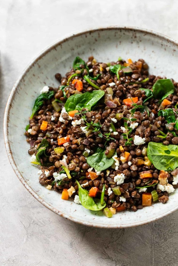 Warm French Lentil Salad with Goat Cheese and Spinach