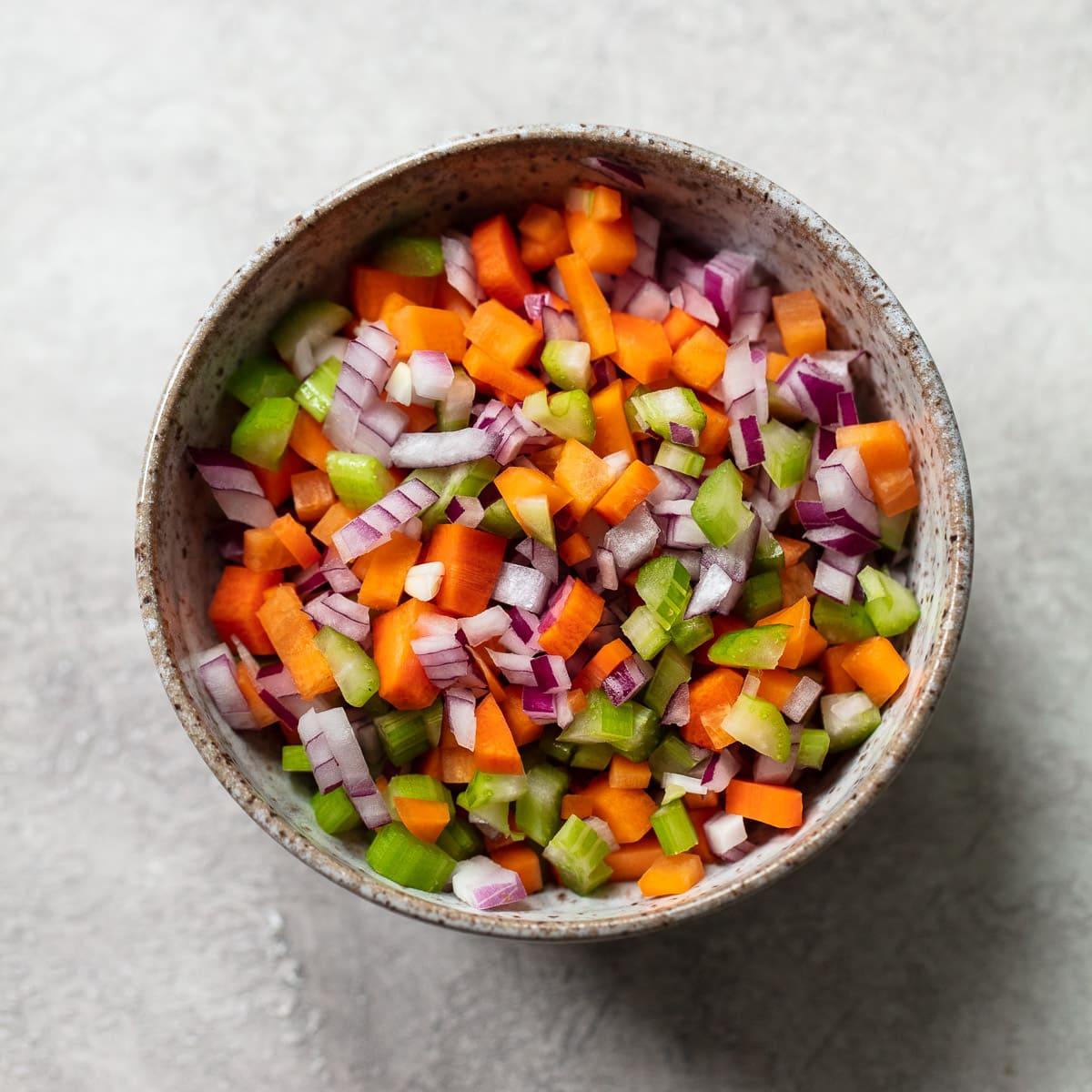 Mirepoix for French Lentil Salad