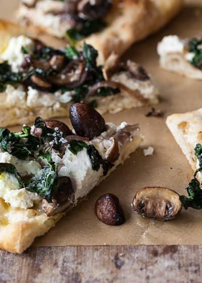 tuscan kale, ricotta and mushroom pizza