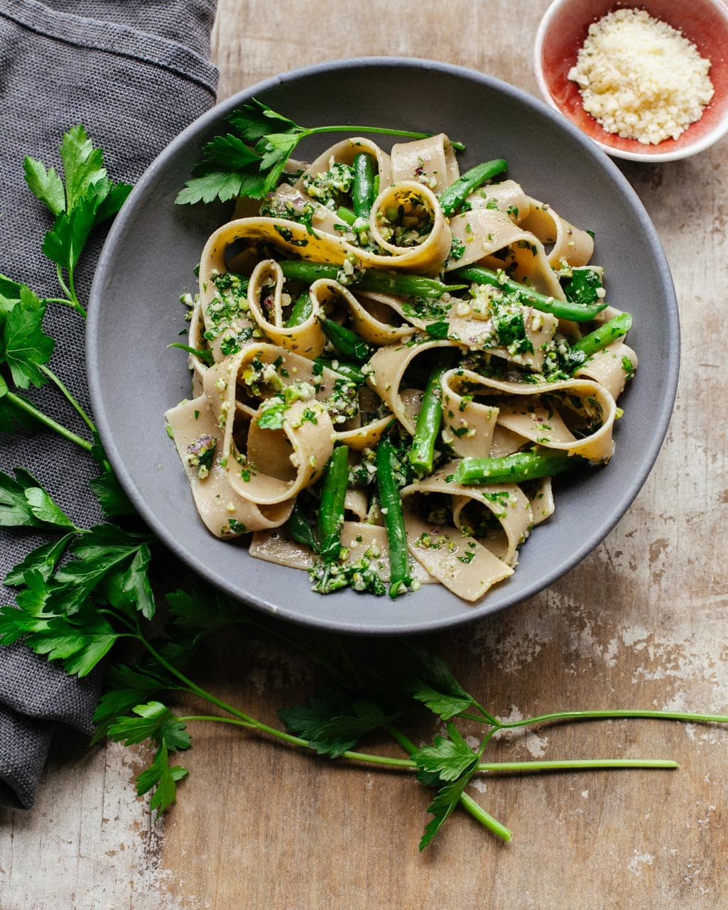 Pasta with Cutting-Board Parsley Pesto Sauce