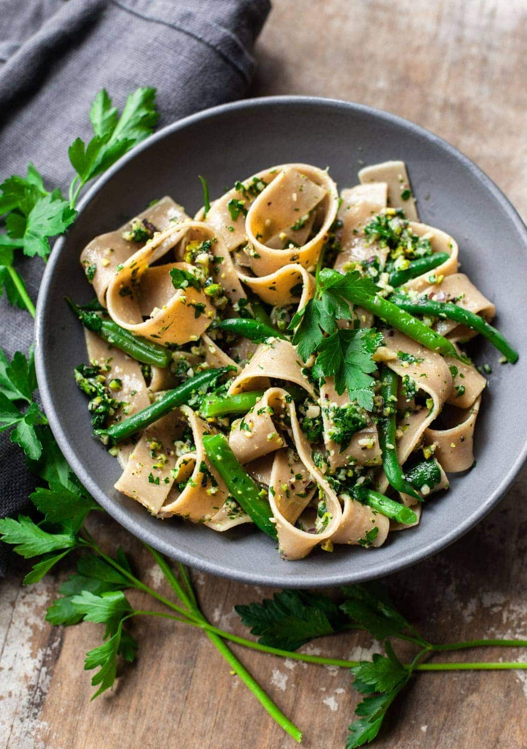 Pappardelle Pasta with Cutting-Board Parsley Pesto Sauce