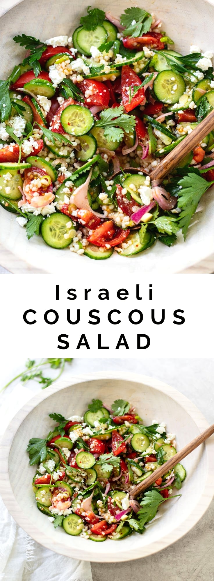 Israeli Couscous Salad with Feta, Cucumber and Tomato