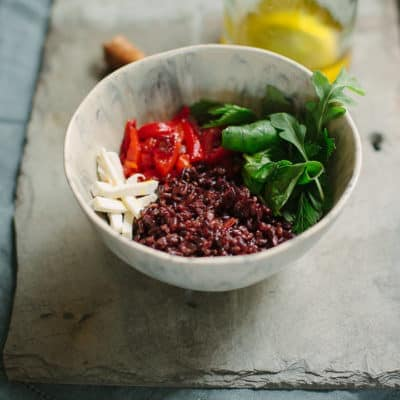 black rice and vegetable bowl