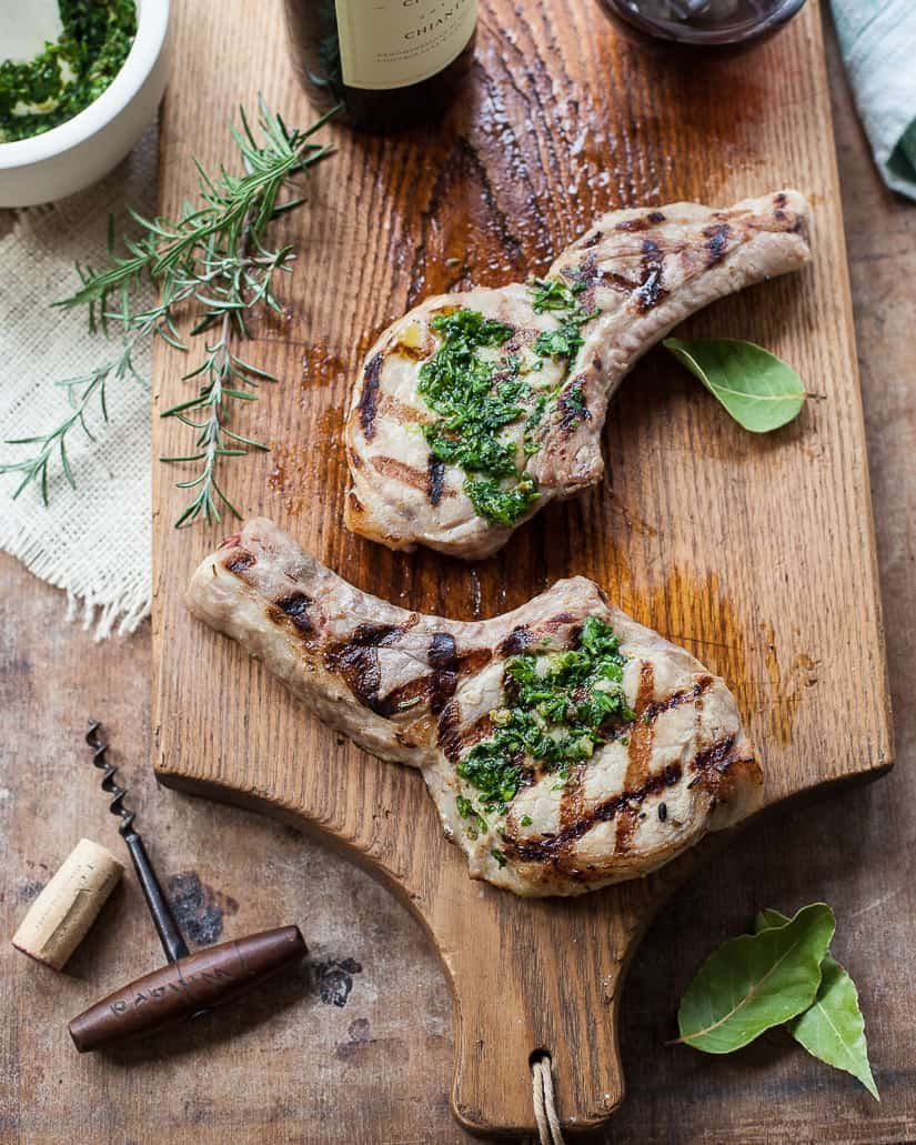 Tuscan Brined Pork Chops with Salsa Verde