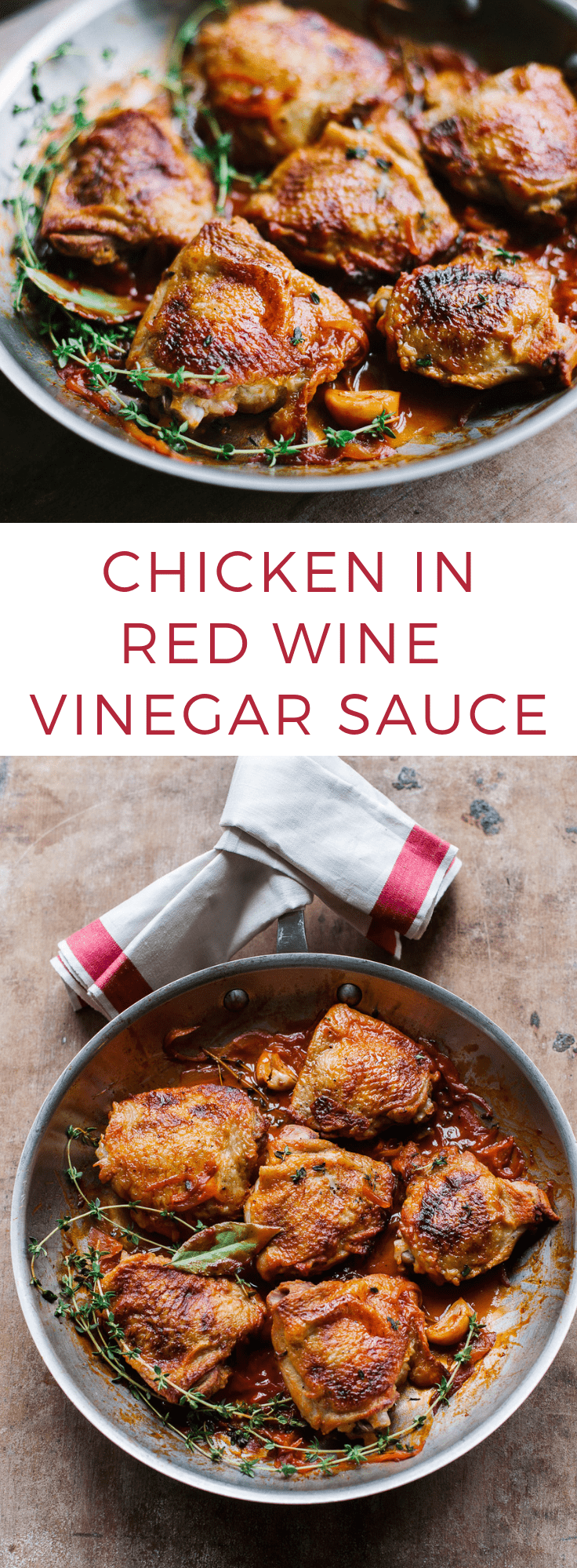 Chicken in Red Wine Vinegar Sauce: Simple French homestyle recipe for tender braised chicken in red wine vinegar, with shallots and tomato.