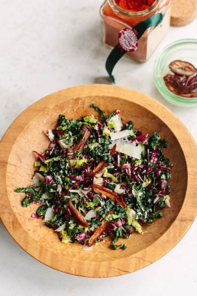Chopped Kale Salad with Dates and Goat Cheese