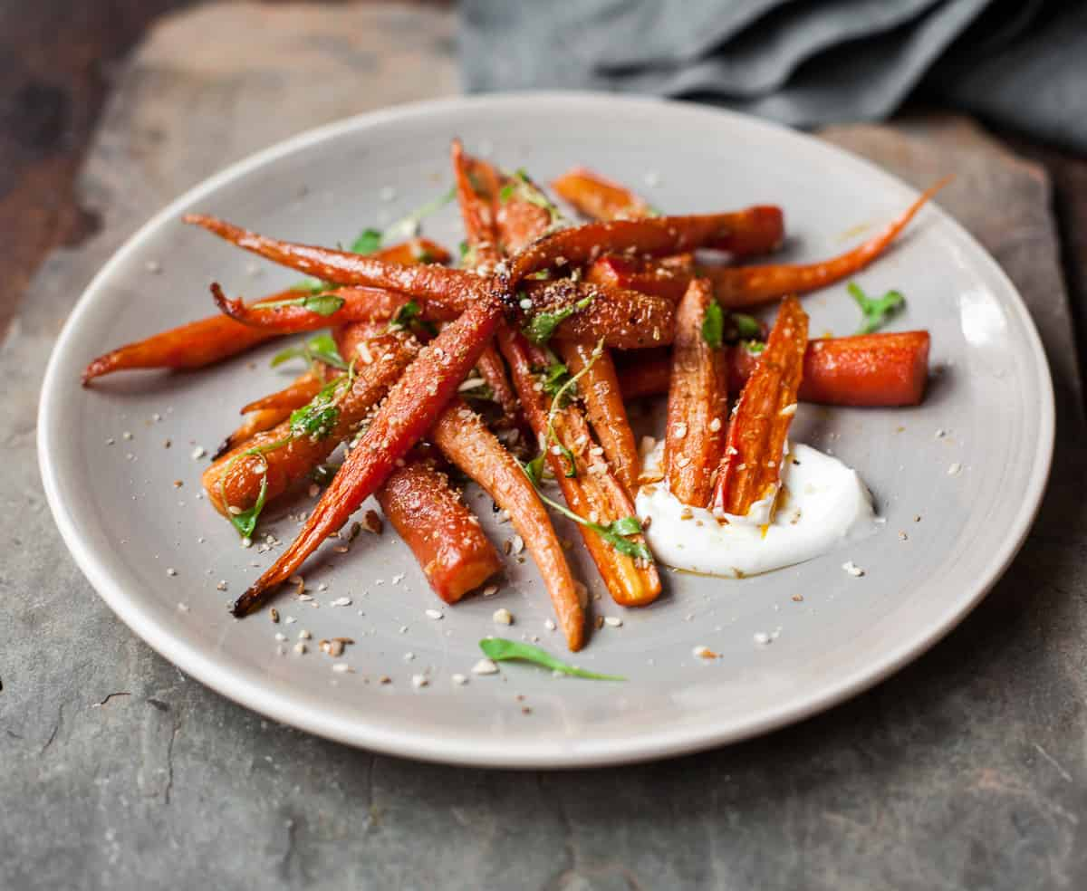 Simple Roasted Carrots with Orange, Yogurt and North African Spice (Dukkah)