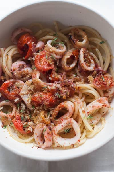 pasta with roasted squid and cherry tomatoes