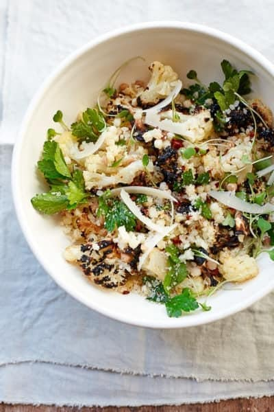 healthy charred cauliflower salad with pearl pasta, greens and parmesan