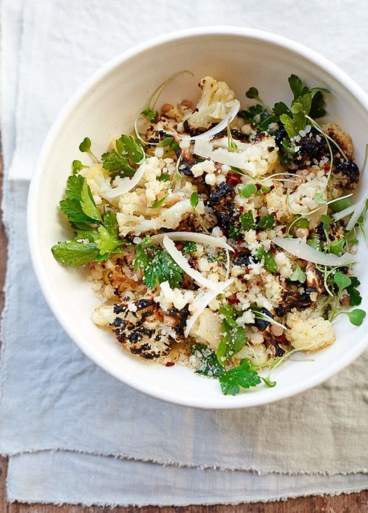 Roasted Cauliflower Salad with Italian Pearl Pasta