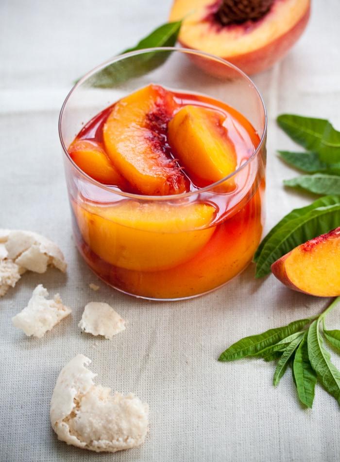 Prosecco Poached Peaches with Homemade Amaretti