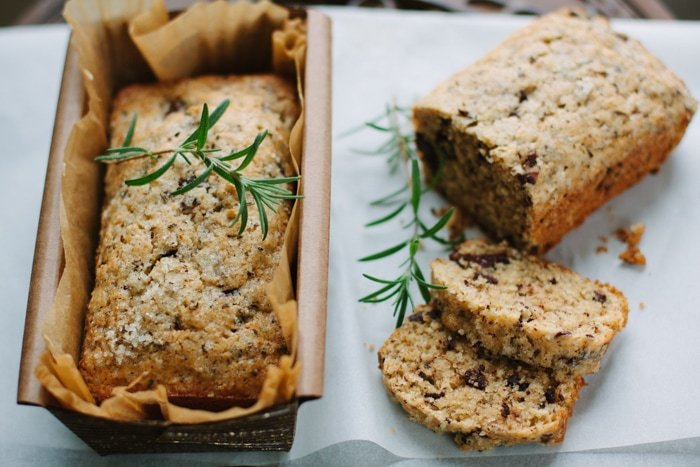 Rosemary Chocolate Olive Oil Quick Bread
