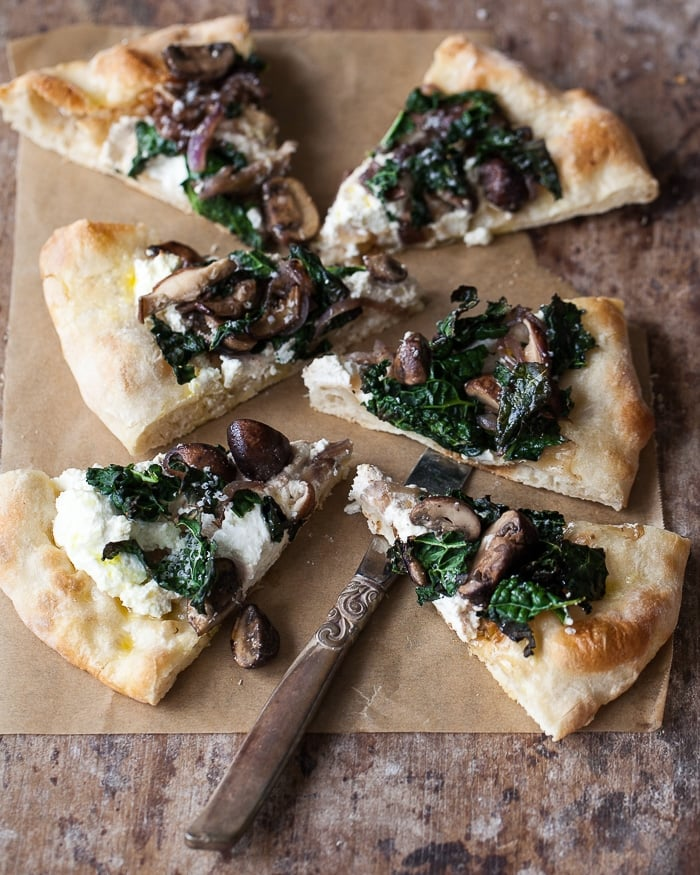 tuscan kale, mushroom and ricotta pizza www.familystylefood.com