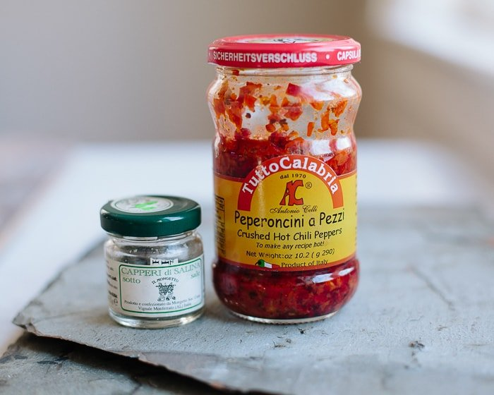 Calabrian chilies with salted capers for Calabrian pasta carbonara recipe