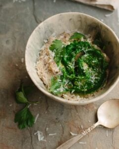 rustic polenta with greens and parmesan cheese