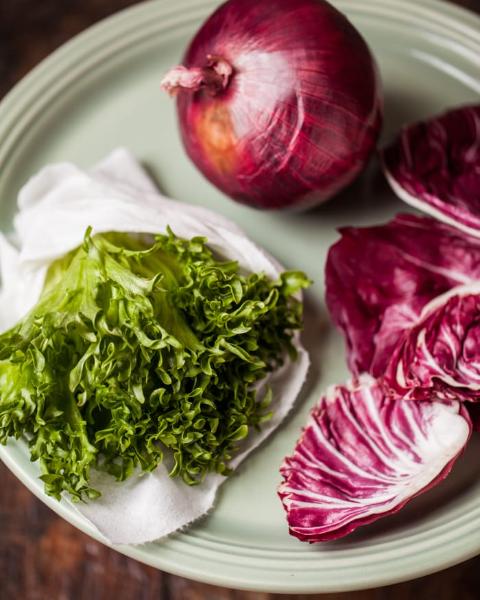 red onion, chicory and radicchio vegetables