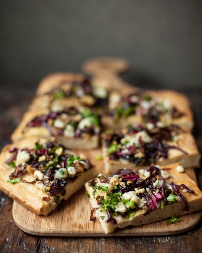 gorgonzola focaccia with walnuts and chicory