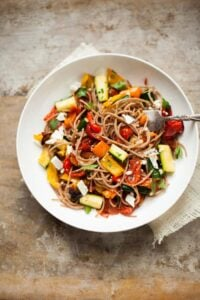 spelt spaghetti with roasted vegetables