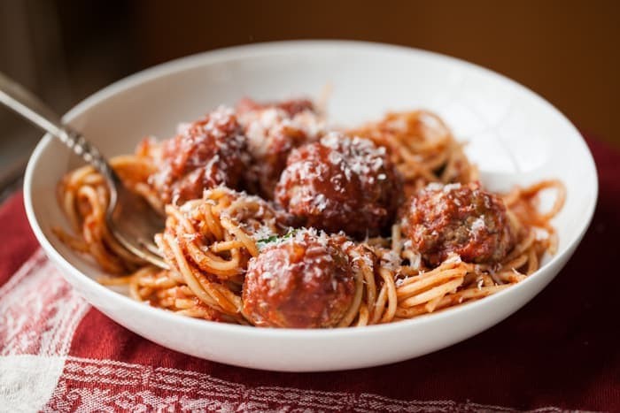 Spaghetti and meatballs with Sunday gravy