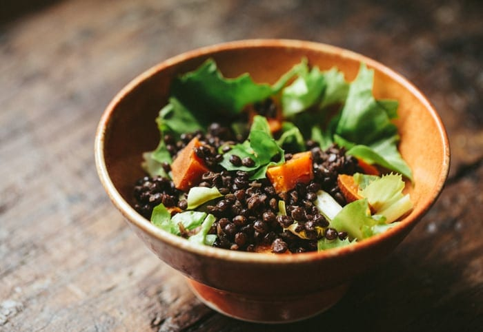 Lentil-escarole-salad-with-roasted-sweet-potatoes