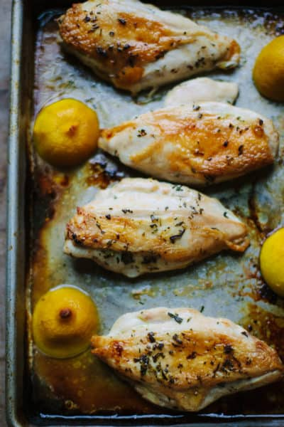 The simplest way to cook juicy chicken breasts, with rosemary and roasted lemons