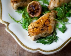 Juicy chicken breasts with roasted lemon and rosemary